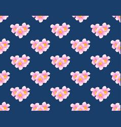 Pink trumpet flower seamless on indigo blue vector