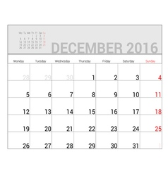 Planners for 2016 december vector