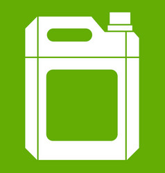 Plastic jerry can icon green vector