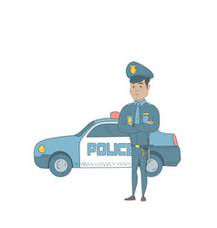Police officer standing in front of police car vector