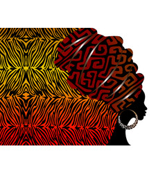Portrait african woman in traditional turban tiger vector
