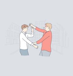 Quarrel struggle violence aggression conflict vector