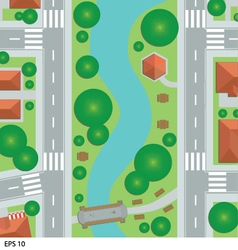 Road map city top view vector