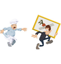 Robber stealing artworks funny people vector