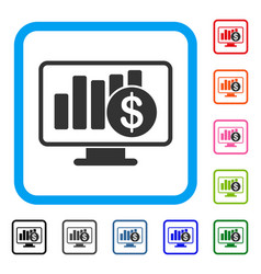 Sales monitor framed icon vector