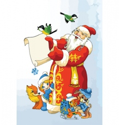 Santa in the woods vector image