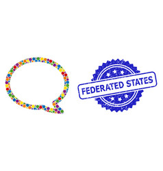 Scratched federated states stamp and colored vector