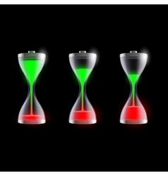 Set batteries in an hourglass vector