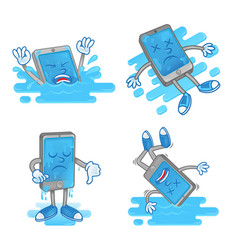 set wet smartphone vector image