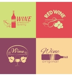 set wine labels badges and logos for design vector image