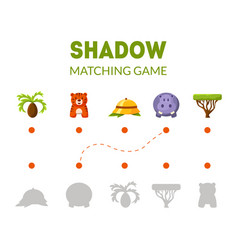 shadow matching game with african safari signs and vector image
