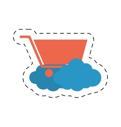shopping cart online cloud cut line vector image