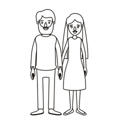 Silhouette caricature full body couple woman with vector