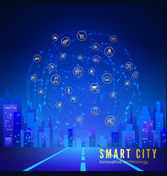 Silhouette futuristic city on background of vector
