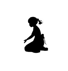 silhouette girl sitting lap with hand down vector image