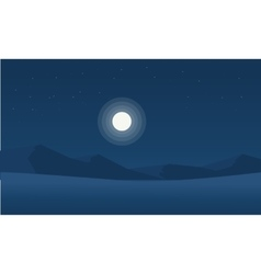 Silhouette of mountain desert with moon vector