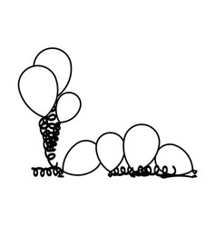 Silhouette set flying balloons with serpentine on vector