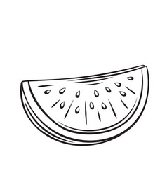 slice watermelon outline icon vector image