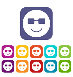 smiling emoticons set vector image
