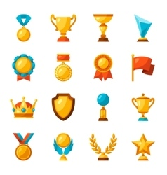 Sport or business trophy award icons set vector image