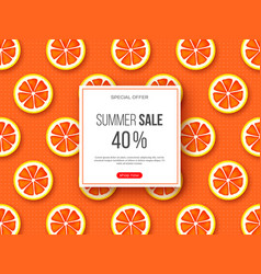 summer sale banner with sliced grapefruit pieces vector image