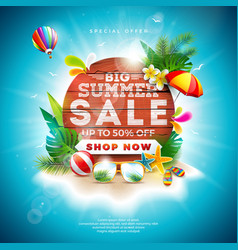 Summer sale design with flower and beach holiday vector