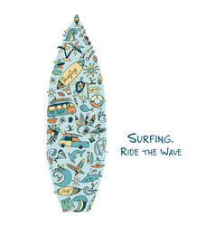 surfboard sketch design made from surf icons set vector image