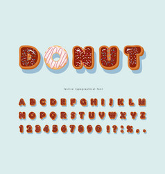 Sweet decorative font cartoon chocolate letters vector