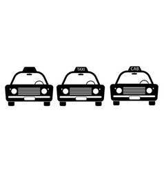 taxi cab vintage old front view set three taxi vector image