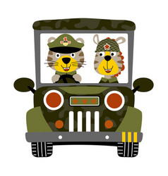 Tiger and zebra are soldiers on military vehicle vector