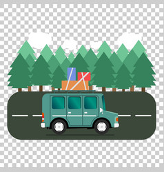 Travel car campsite place landscape forest trees vector