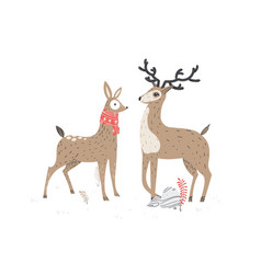 Two beautiful deers stylish vector