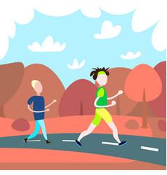 two men running cross autumn landscape background vector image
