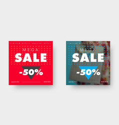 two square web banners for big sale with triangle vector image