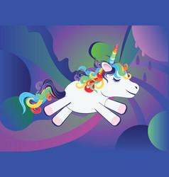 Unicorn with rainbow vector