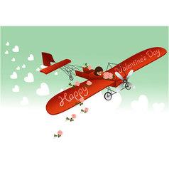 Valentine love plane vector image