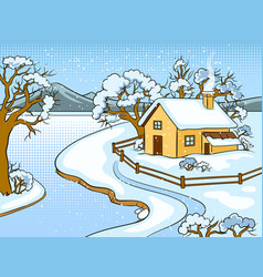 winter landscape pop art vector image