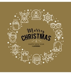 with christmas icons vector image