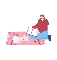 Young woman with book and cat in carpet isolated vector