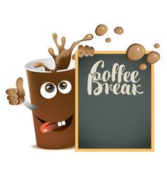 Banner with cheerful cup of coffee and blackboard vector