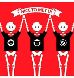 Cartoon funny human skeletons vector image