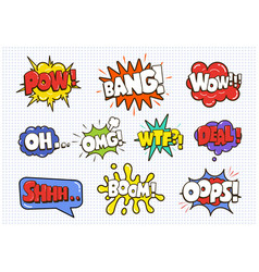 comic sound speech effect bubbles set isolated on vector image