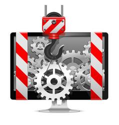 Computer Repair with Crane vector image