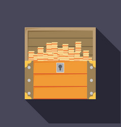 open treasure chest isolated flat design vector image