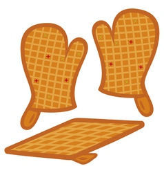 oven mitts and pot-holder vector image