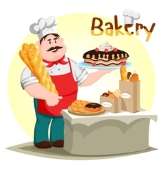 Pastry creamie cake and baguette in baker hand vector