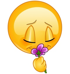 smelling flower emoticon vector image vector image