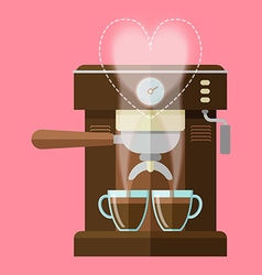 coffee machine and coffee cups vector image