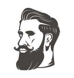 gentleman head with beard and mustache isolated on vector image