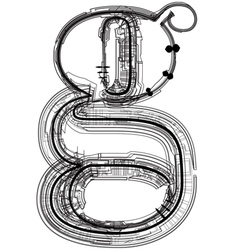 Technical typography letter g vector